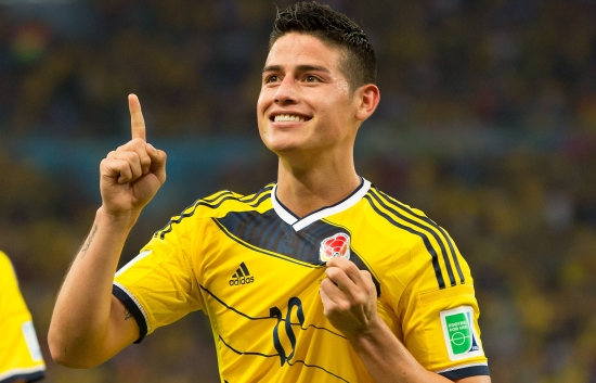 James Rodriguez of Columbia celebrates scoring a goal after making it 2 0 BPI_Columbia_Uruguay2BQ_41